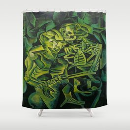 A Skeleton Embracing A Zombie Halloween Horror Shower Curtain