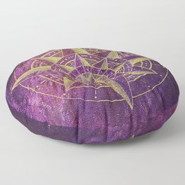 Into the Mystic Compass Floor Pillow