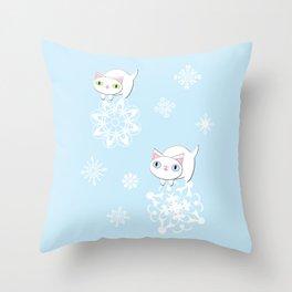 Feline Snowflake Pals Throw Pillow