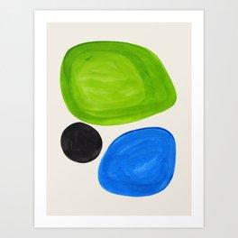 Mid Century Modern Retro Minimalist Colorful Shapes Phthalo Blue Lime Green Native Pebbles Art Print