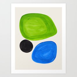 Mid Century Modern Retro Minimalist Colorful Shapes Phthalo Blue Lime Green Native Pebbles Art Print