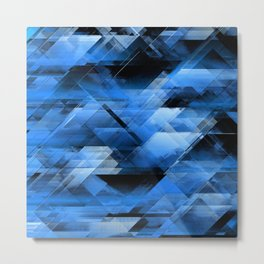 Abstract geometric blue Metal Print
