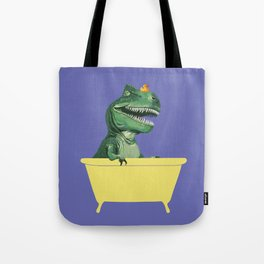 Playful T-Rex in Bathtub in Purple Tote Bag