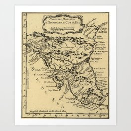 Vintage Map of Nicaragua and Costa Rica (1764) Art Print