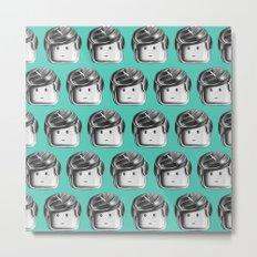 Minifigure Pattern – Teal Metal Print