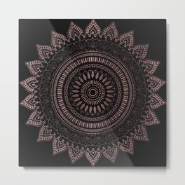 Modern tribal rose gold mandala design Metal Print
