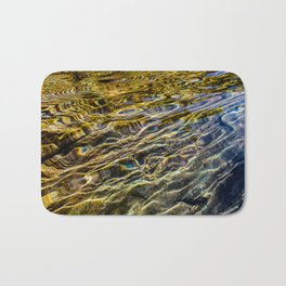 Prismatic Waves in Blue Gold and Green Bath Mat