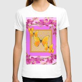 Golden Butterflies Purple-Pink Orchids Art T-shirt