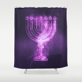 Hanukkah menorah symbol. Menorah symbol of Judaism. Abstract night sky background. Shower Curtain