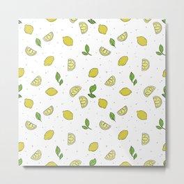 Lemonade - Lemon Pattern Metal Print
