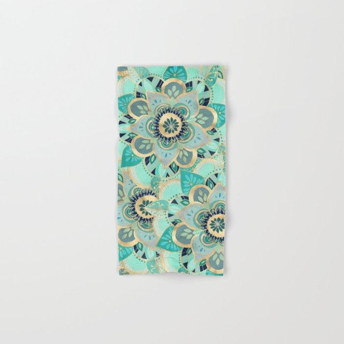 Gilded Emerald Enamel Hand & Bath Towel