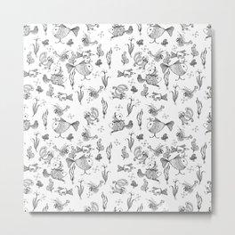 Seamless hand draw cartoon fairy fishes Metal Print