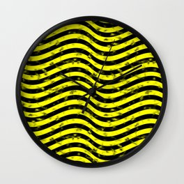 Wiggly Yellow and Black Speckle Pattern Wall Clock