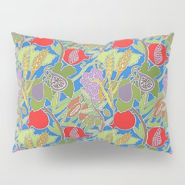 Seven Species Botanical Fruit and Grain with Blue Background Pillow Sham