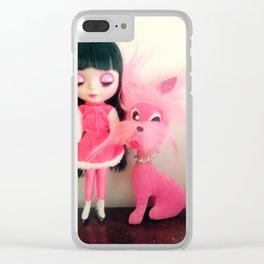 sakura and her pink dog Clear iPhone Case