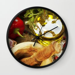 Olive oil, herbs and spices Wall Clock