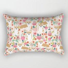 Corgi Florals - vintage corgi and florals gift great for corgi lovers Rectangular Pillow