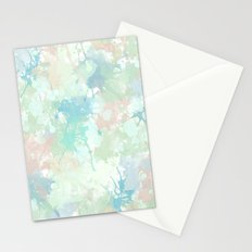 Abstract Mint Blue Watercolor Splashes Stationery Cards
