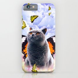 Cute Colorful Cat Butterfly iPhone Case