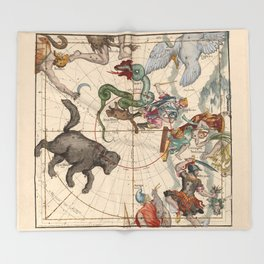 Pictorial Celestial Map with Constellations Ursa Major and Ursa Minor Throw Blanket