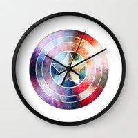 avenger Wall Clocks featuring The first avenger by Julien Kaltnecker