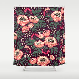 11 Floral pattern with peonies.Bright pink flowers. Dark violet background. Shower Curtain