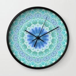 Blue and Turquoise Mandala Wall Clock