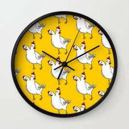 Two Headed Chicken Repeat Pattern Wall Clock