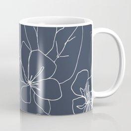 Flowers in Bloom, Drawing in Blue Coffee Mug