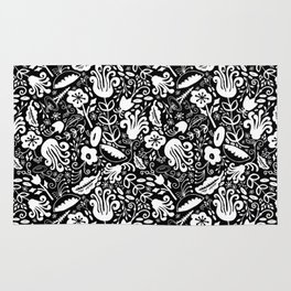 Funky Vintage Floral // Monochrome Black and White // Color Your Own Flower Garden Rug
