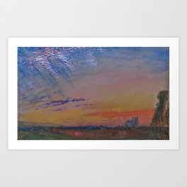 Herringbone Clouds at Sunset, Abbeville and St. Wulfran Cathedral, France by John Ruskin Art Print