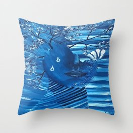 Blue Women Nature, expressionism, oil painting by Luna Smith | LuArt Gallery Throw Pillow