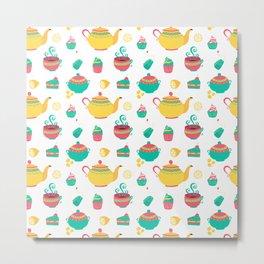 British Tea Lover Pattern Gift Metal Print
