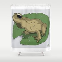 frog Shower Curtains featuring Frog by Jamie Briggs