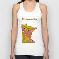 minnesota Tank Tops featuring Minnesota Map by Roger Wedegis