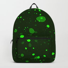 Green glowing petals and drops. Backpack