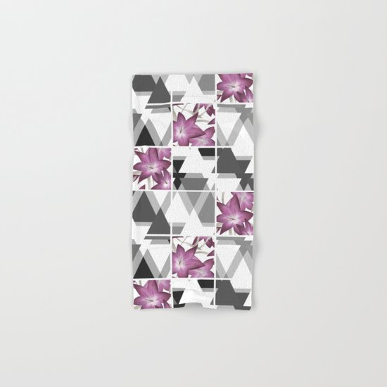 Pink lilies on grey triangles . Hand & Bath Towel