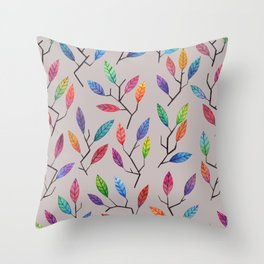 Leafy Twigs - Multicolored on Gray Throw Pillow