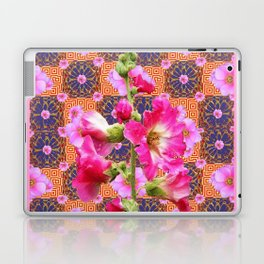Fuchsia Purple Holly Hocks Pattern Grey Flora Art Laptop & iPad Skin