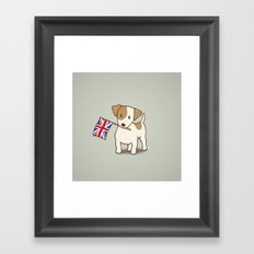 Jack Russell Terrier and Union Jack Illustration Framed Art Print