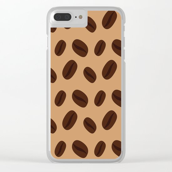 Cool Brown Coffee beans pattern Clear iPhone Case