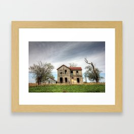 Crooked but still hanging on Framed Art Print