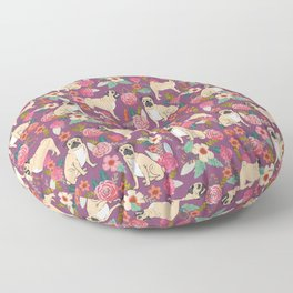 Pug dog breed floral must have cute pugs pure breed pet gifts Floor Pillow