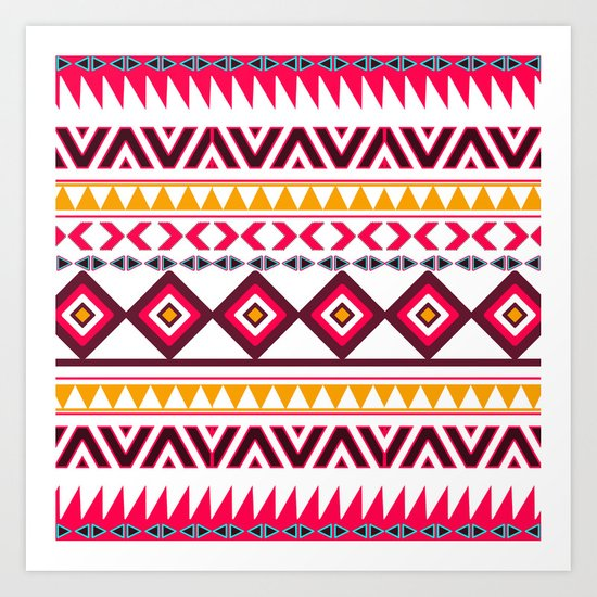 Pink Orange Bright Andes Abstract Aztec Pattern Art Print
