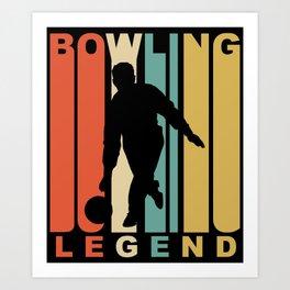 Vintage 1970's Style Bowling Legend Retro Bowler Art Print
