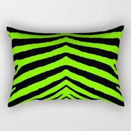 Black and Neon Green Tropical Zebra Animal Stripes Rectangular Pillow