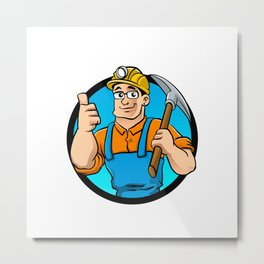 miner hold the pick axe Metal Print