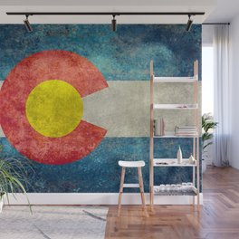 Colorado State Flag in Vintage Grunge Wall Mural
