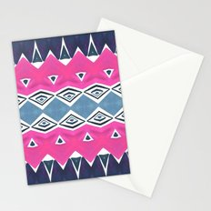 Geo Triangle Pink Navy 2 Stationery Cards