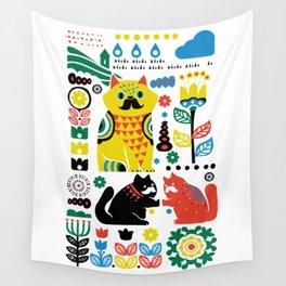 Scandinavian Cats Wall Tapestry